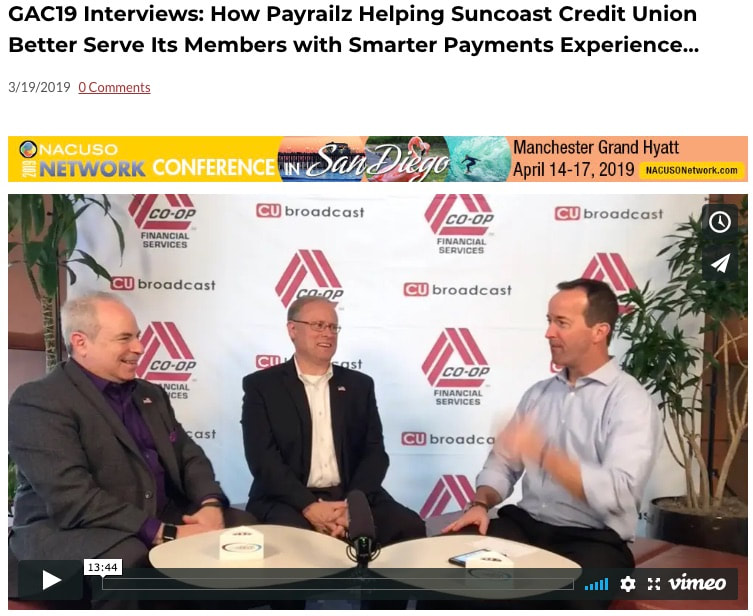 Payrailz Mickey Goldwasser and Suncoast Credit Union's Ted Hassenfelt